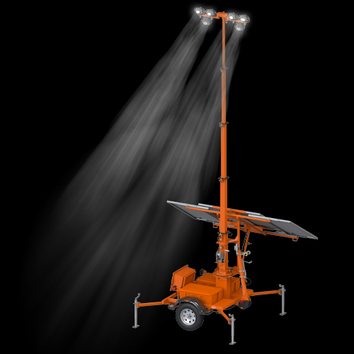 Trailer-Mounted Solar Light Tower